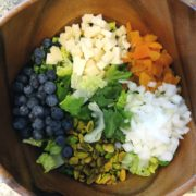 1. Blueberry, Dried Apricot, and Iberico Cheese Salad with Pineapple Vinaigrette