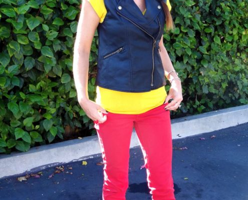 1. Wear of the Week Red Denim + Color Block