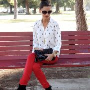 1. Wear of the Week Red Denim + Parrot Printed Blouse