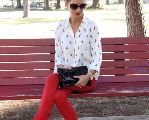 1. Wear of the Week Red Denim + Parrot Printed Blouse