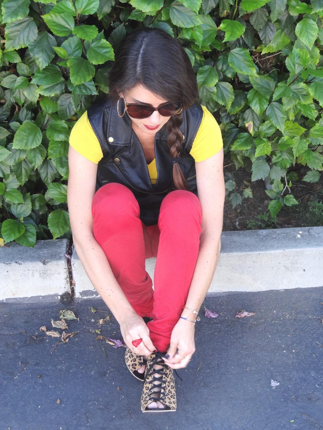 2. Wear of the Week Red Denim + Color Block