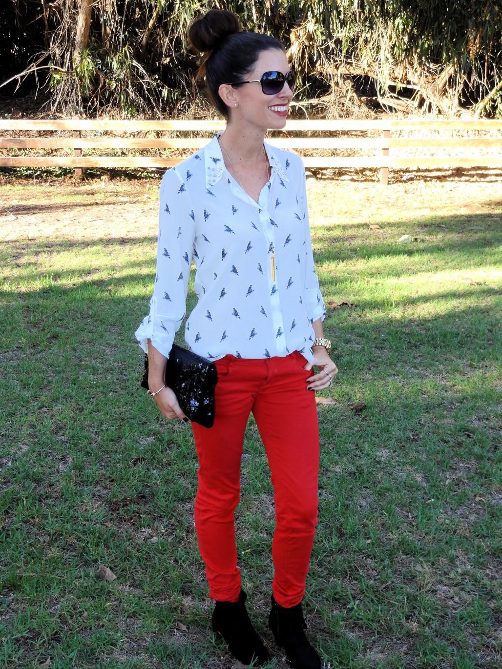 2. Wear of the Week Red Denim + Parrot Printed Blouse