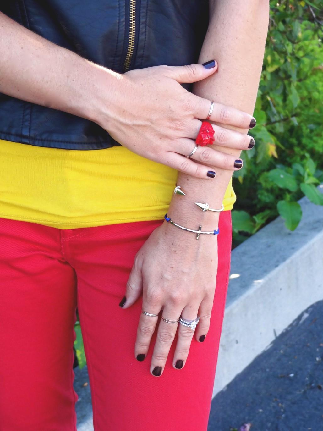 3. Wear of the Week Red Denim + Color Block