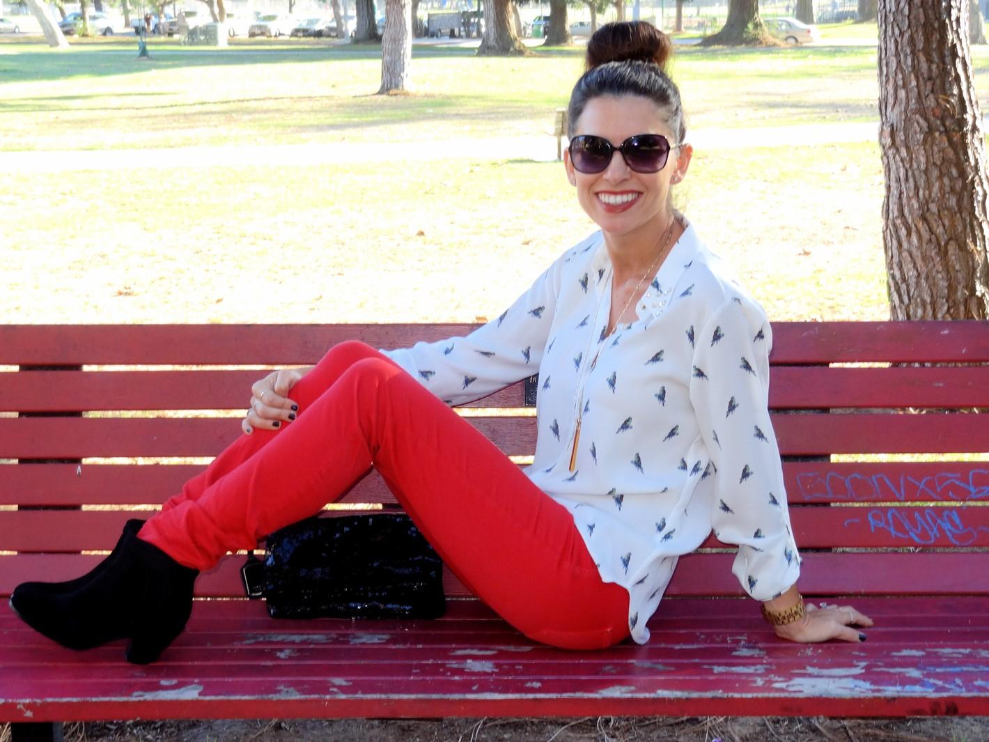5. Wear of the Week Red Denim + Parrot Printed Blouse